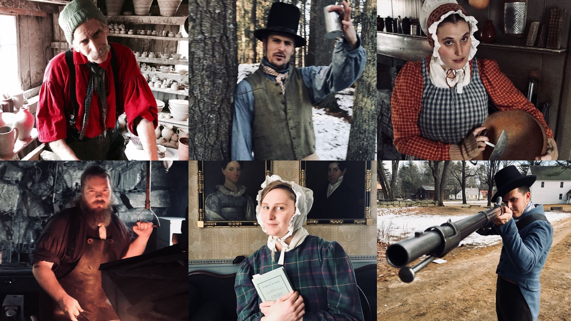 The Potter, the Peddler, the Farmer's Daughter, the Blacksmith, the Printer's Daughter, and the Hunter bring Old Surbridge Village to life in Midwinter Mischief.